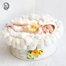 New-arrival! Handmade wool diameter~50cm Newborn baby blanket Fluffy Wool photography props Basket Filler Stuffer