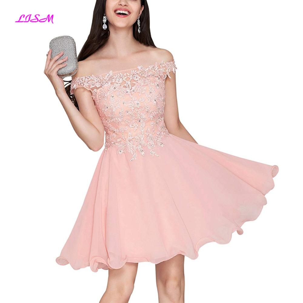 Short Off Shoulder Homecoming Dress Lace Bodice A Line Chiffon Evening Party Gown