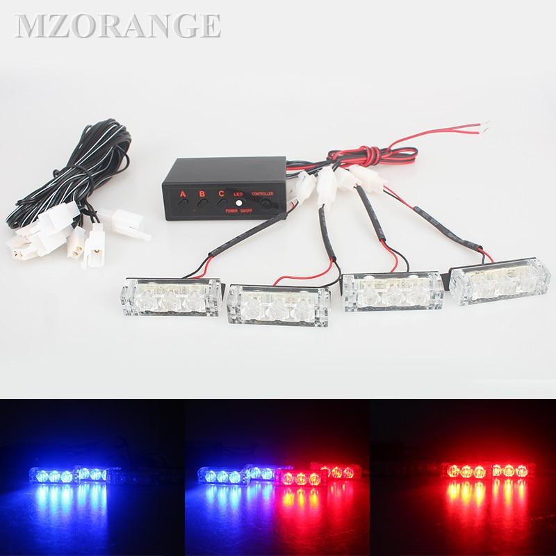 Police Lights LED Warning EMS Car Strobe Flash Firemen 12v Emergency High Power Red Blue White Green Amber 2x3 4x3 6x3 8x3