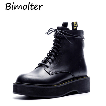 Bimolter Fashion Genuine Leather Flat Shoes Woman High Heel Platform Boots Lace up zip Shoes Martin Boots Girl Size35-40 LASB009