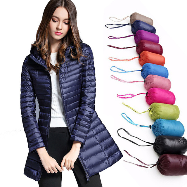 49910905d87f Kobiety płaszcz puchowy 2019 nowy zima ciepła kurtka z kapturem Ultra Light  90% kaczki dół