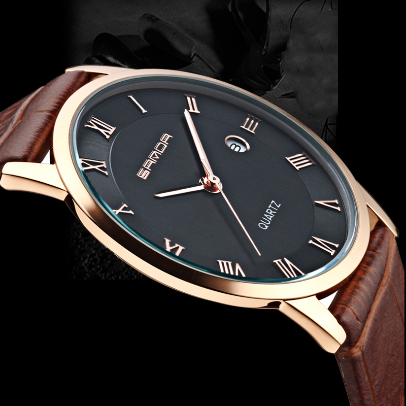 Super Slim Quartz Casual Wristwatch Business SANDA Brand Leather Analog Quartz Watch Men's Fashion relojes hombre