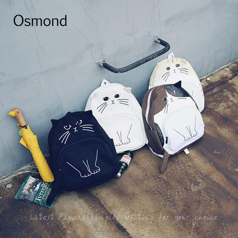 Osmond Lovely Cat Backpack For Women Backpacks Casual Canvas Backpacks School Bag Girls Mochila Teenage Cute Rucksack Bookbags