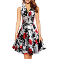 2017 Sale New A-line Vintage Summer Rose Fashion Floral Embroidered Dress V-neck Boho Sleeveless Sexy Vestidos Maxi Dresses
