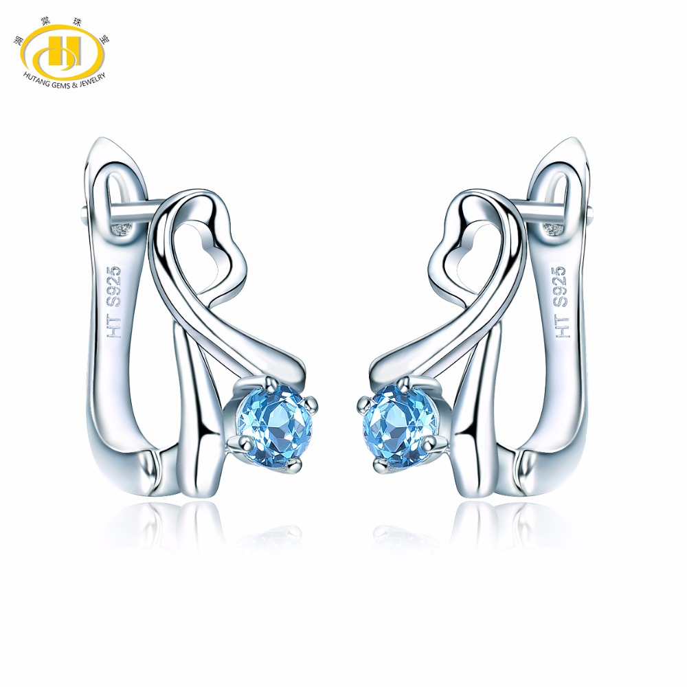 HUTANG Natural Blue Topaz Clip Earrings Solid 925 Sterling Silver Gemstone Handmade Fine Stone Jewelry Womens Gift New