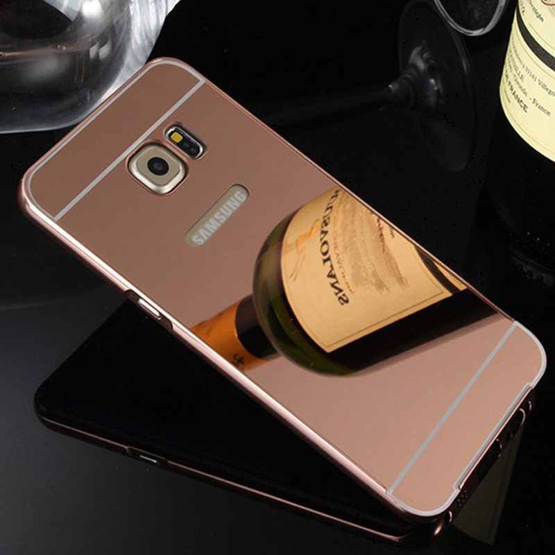 the best attitude 19741 63da3 US $8.8 |New Mirror Case For SAMSUNG Galaxy S6 Edge Plus Metal Bumper Frame  + PC Back Cover Simple Design For S6 Edge+ Back Cover Skin on ...