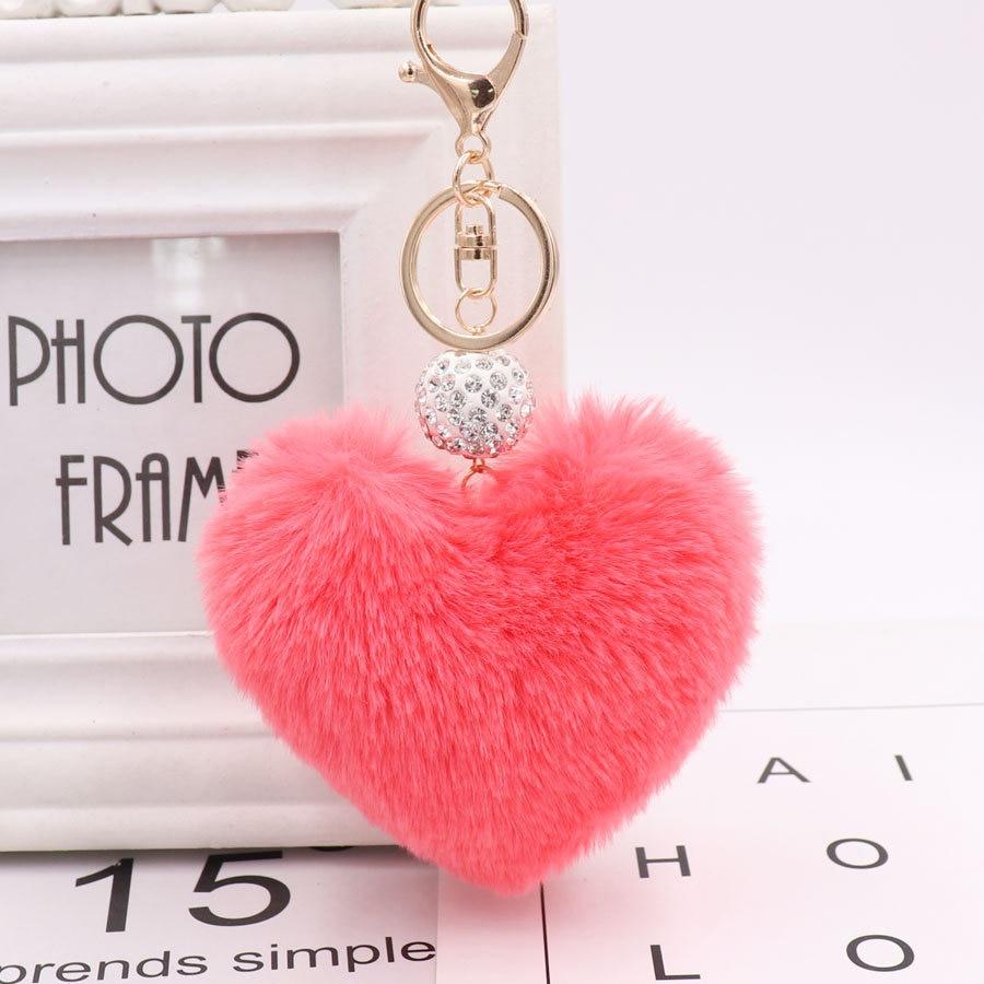 743f63c875 US $1.05 Lovely Heart Keychains Women's Pom Poms Faux Rex Rabbit Fur ...