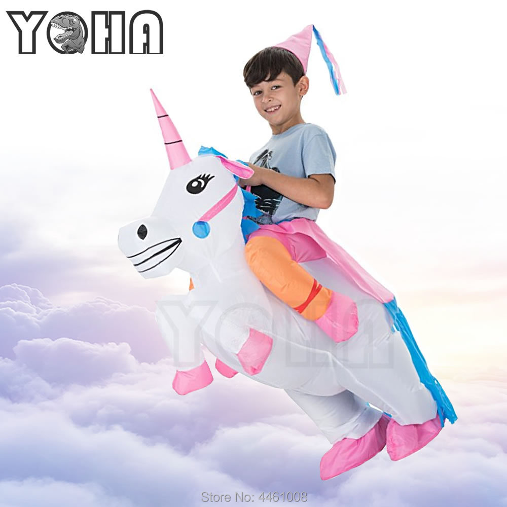 YOHA Inflatable Unicorn Costumes Funny Party Dress Animal Cosply Halloween Costume Woman Costume