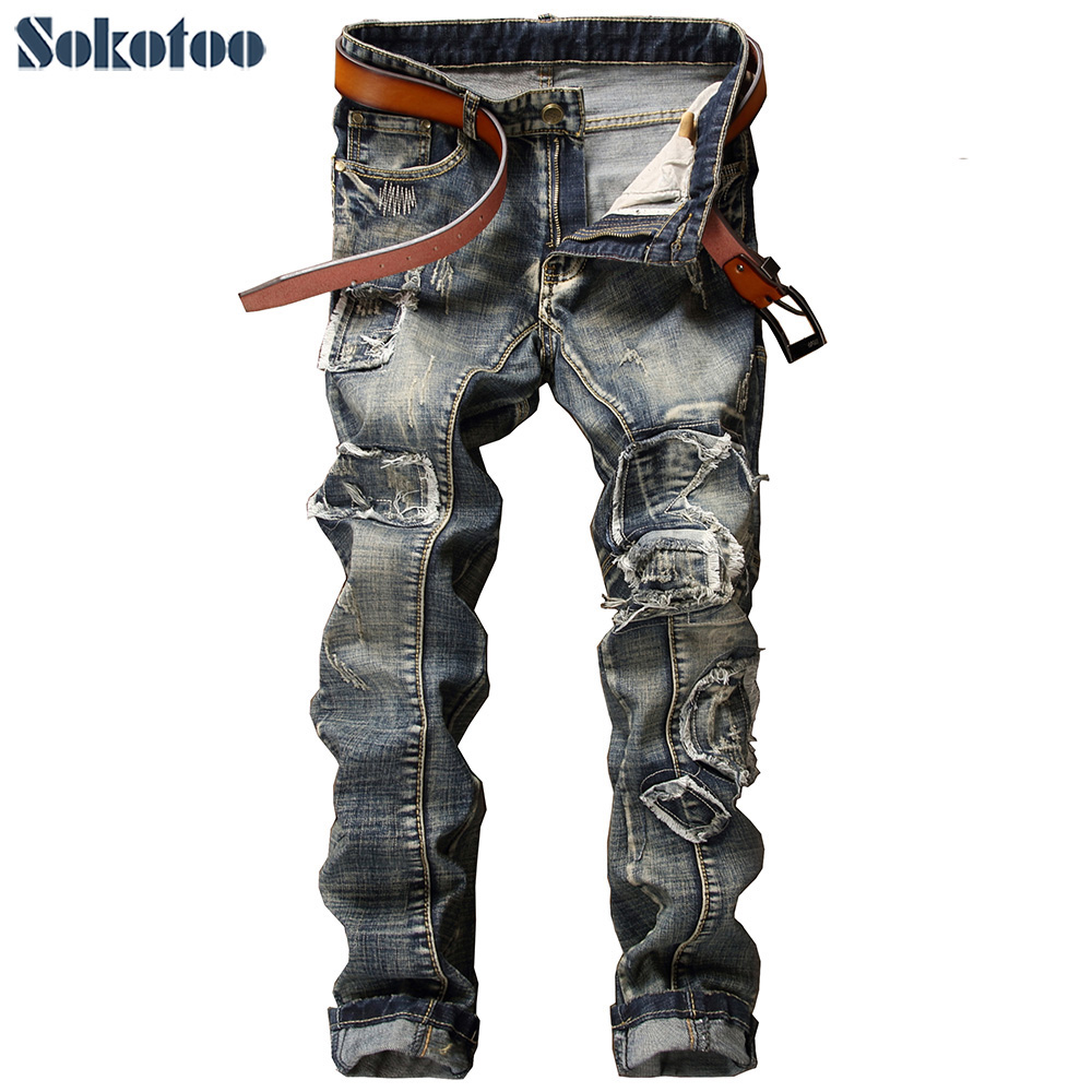 Sokotoo Men's casual slim straight patchwork denim jeans Male fashion holes ripped pants Vintage long trousers sokotoo men s casual vintage light blue hole ripped biker jeans male fashion slim denim pants straight long trousers
