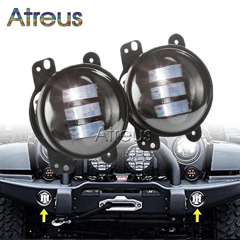 Atreus Car LED Fog Lights 12V For Jeep Wrangler JK 07~14 accessories 1Pair 4 30W  High Power Auto car LED DRL Fog Lamp Bulb Kit on sale 2pcs auto accessories 6500k 4inch 30w led fog lamp light fits for jeep wrangler jk 2007 2015