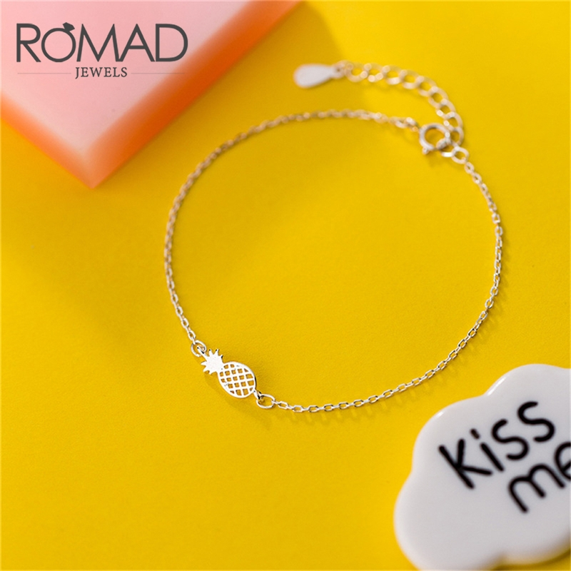 ROMAD 925 Sterling Silver Pineapple Bracelets For Women Fashion Friendship Bangle Hollowed Pineapple Strand Chain Bracelet R4 in Charm Bracelets from Jewelry Accessories