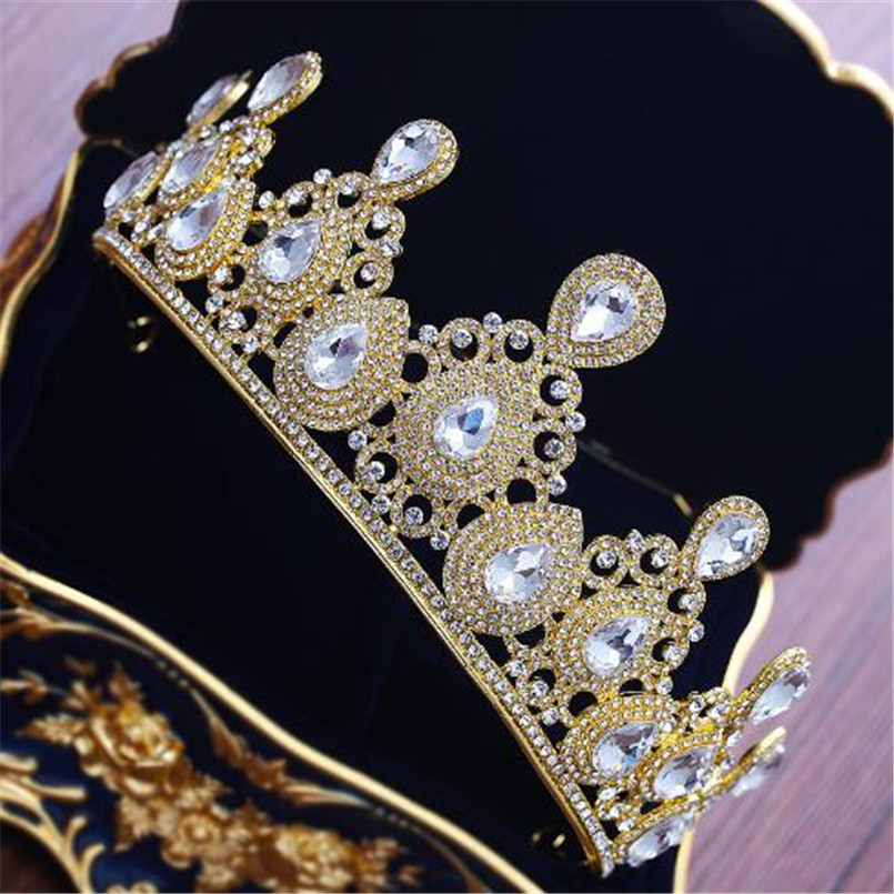 Olaru Luxury Gold Color Crystal Vintage Gold Wedding Crown Alloy Bridal  Tiara Baroque Queen King Crown Rhinestone Tiara Crown-in Hair Jewelry from  Jewelry ... 0abbc5736785