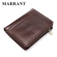 Men Casual Genuine Cowhide Leather Wallet Vintage Design Small Coin Purse Male Short Slim Zipper Bifold Wallet Card Photo Holder