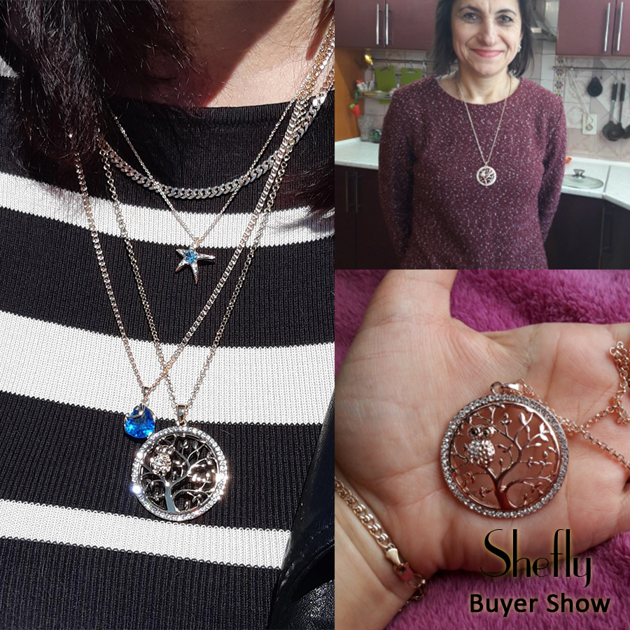 Små Uggla Halsband Tree Of Life Hänge Rose Gold Women Sweater Chain - Märkessmycken - Foto 6