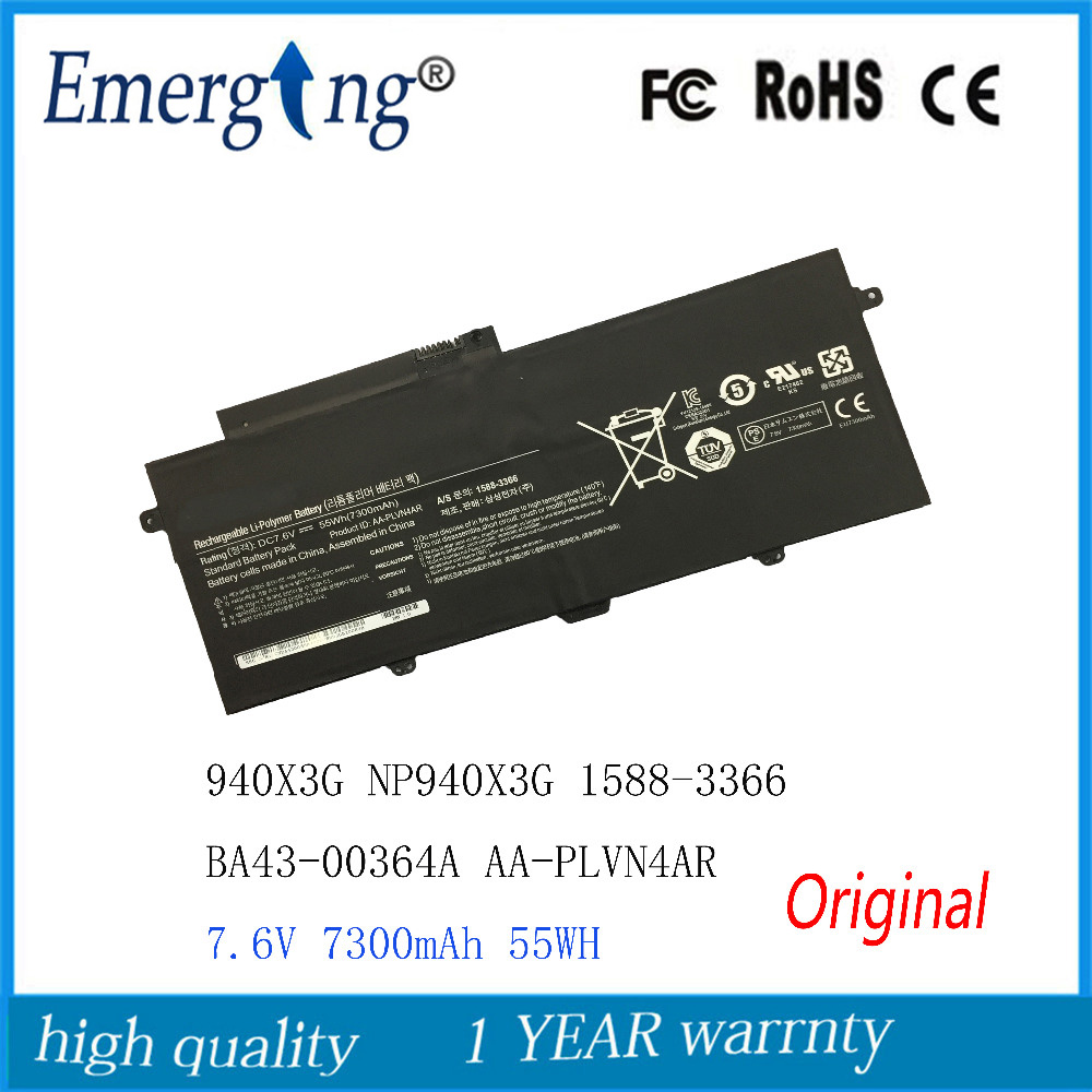 7.6V 7300mAh New Original Laptop Battery for SAMSUNG 940X3G NP940X3G 1588-3366 BA43-00364A AA-PLVN4AR лампа navigator 61 323 ndf d012 8w 5k bl led black