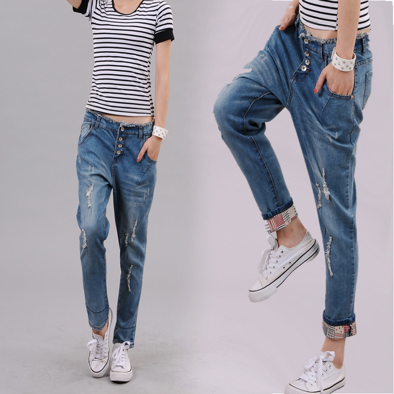 f095506c7e42 Free Shipping 2017 Plus Size Jeans Harem Pants For women Loose Ankle ...