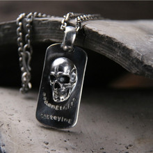 Drop Shipping Anime One Piece Skull Necklace Pendant For Dog Tag Necklace Jewelry Men and Women 925 Sterling Silver Gift customizable 925 sterling silver deep engraved high detail angry lion dog tag mens biker rocker punk pendant 9x010 jp