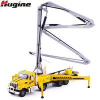 Alloy Diecast Concrete Pump Truck 1:55 80cm Folding Pipe 4 Telescope Stand Construction Truck Model Collection Gift for Kids Toy