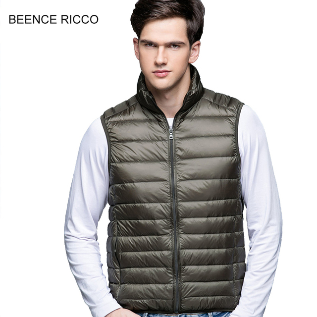 d0cd519ce09 New Plus Size Down Vest Men Winter Light Thin Slim Short Warm Sleeveless  Jacket Turtleneck Colete Masculino Inverno High Quality