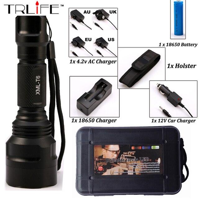 CREE C8 8000 lumens cree xml t6 L2 high power led flashlight +DC/Car Charger+1*18650 battery+Holster LED Torch Light Lamp