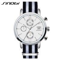 New SINOBI Top Brand Men Casual Quartz Watch Luxury Classic Nylon Chronograph Sport Men S Wristwatch