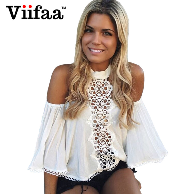 Viifaa Mujeres Hombro Tops de Encaje Blanco Blusas Camisa de Media Manga 2017 Ve