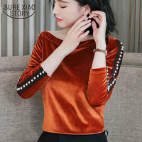 fashion 2019 blouse new gold velour solid colored long sleeved women shirts Office lady blouses fashion blusas feminenas 1594 50
