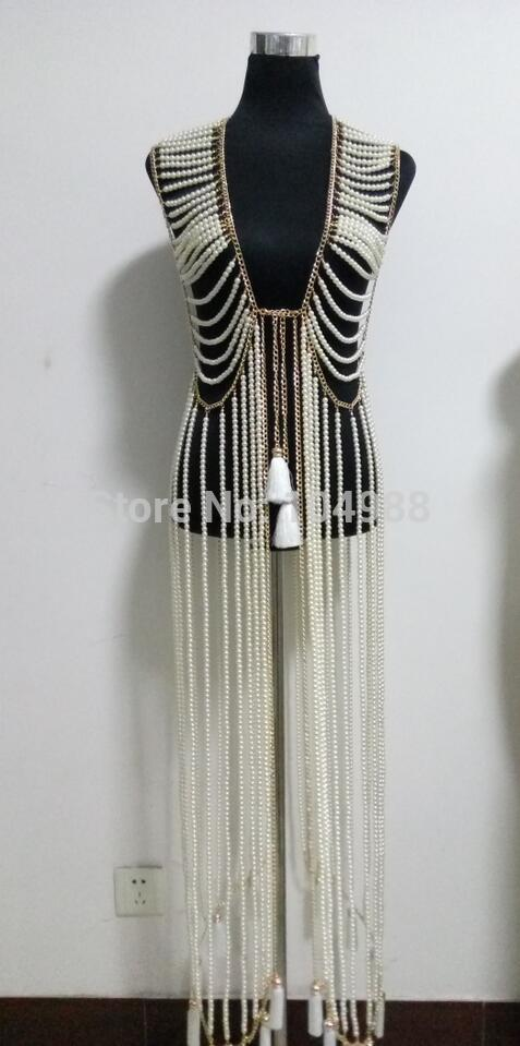 FREE SHIPPING NEW STYLE B731 Women Rock Gold colour Chains Imitation Pearls Beads LOnger Dress Chains