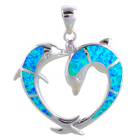 Pendientes Two Dolphins Designer Blue Fire Opal 925 Sterling Silver Necklace Pendants Fashion Jewelry For Women