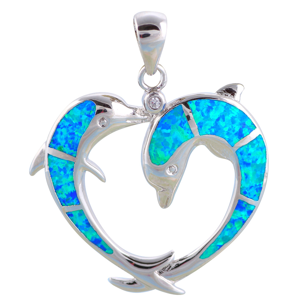 Pendientes Two Dolphins Designer Blue Fire Opal  sterling Silver Necklace Pendants Fashion jewelry for women OP508