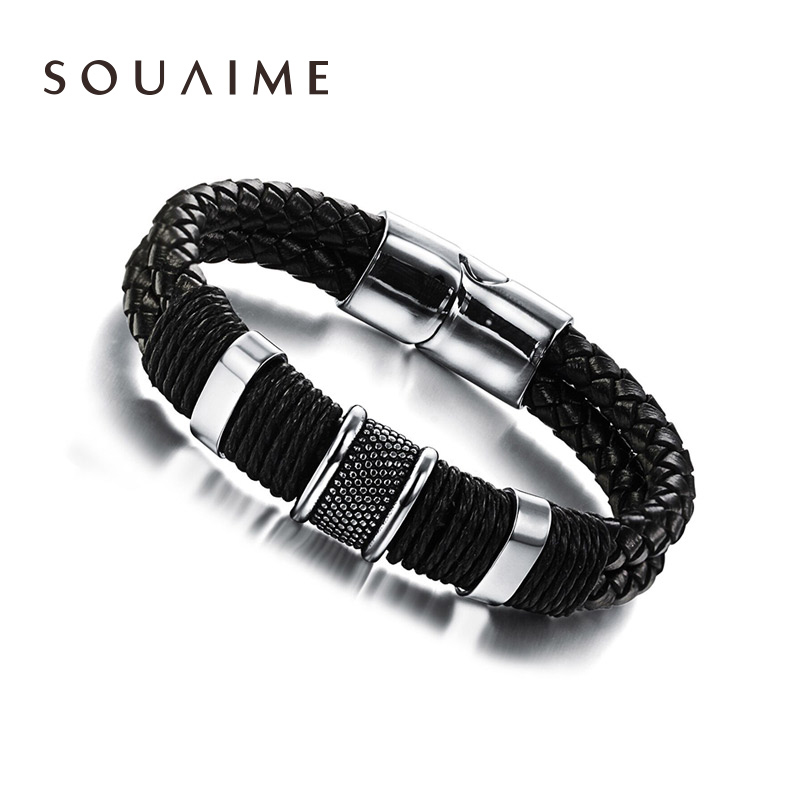 SOUAIME New Year Gift Handmade Double Bracelets Men Jewelry