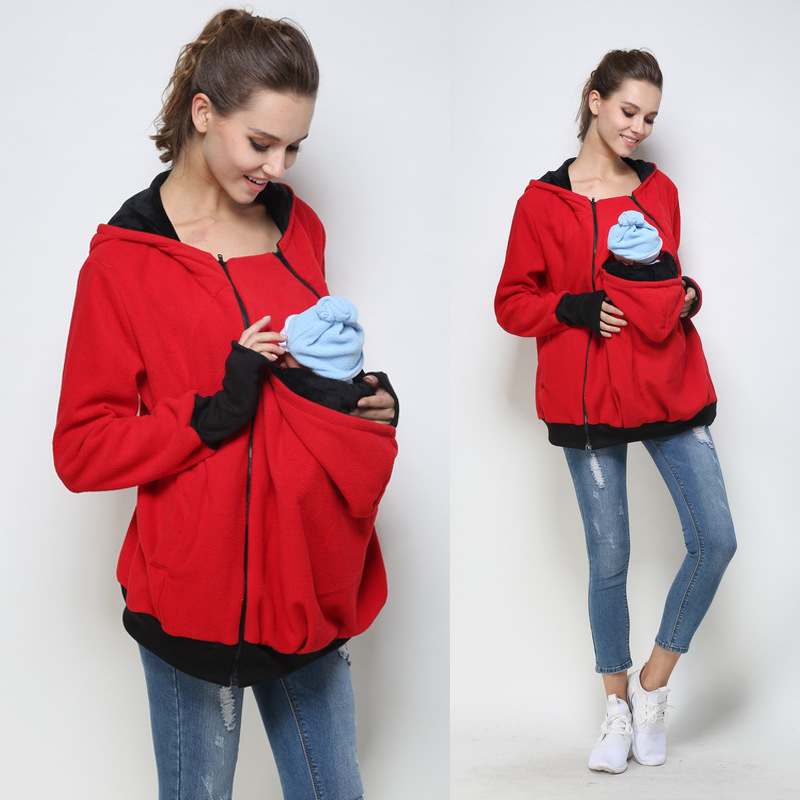 Women's Maternity Kangaroo Hooded Baby Carriers Sweatshirts Maternity baby back carrying hoodie sweat babywearing jacket Red 464