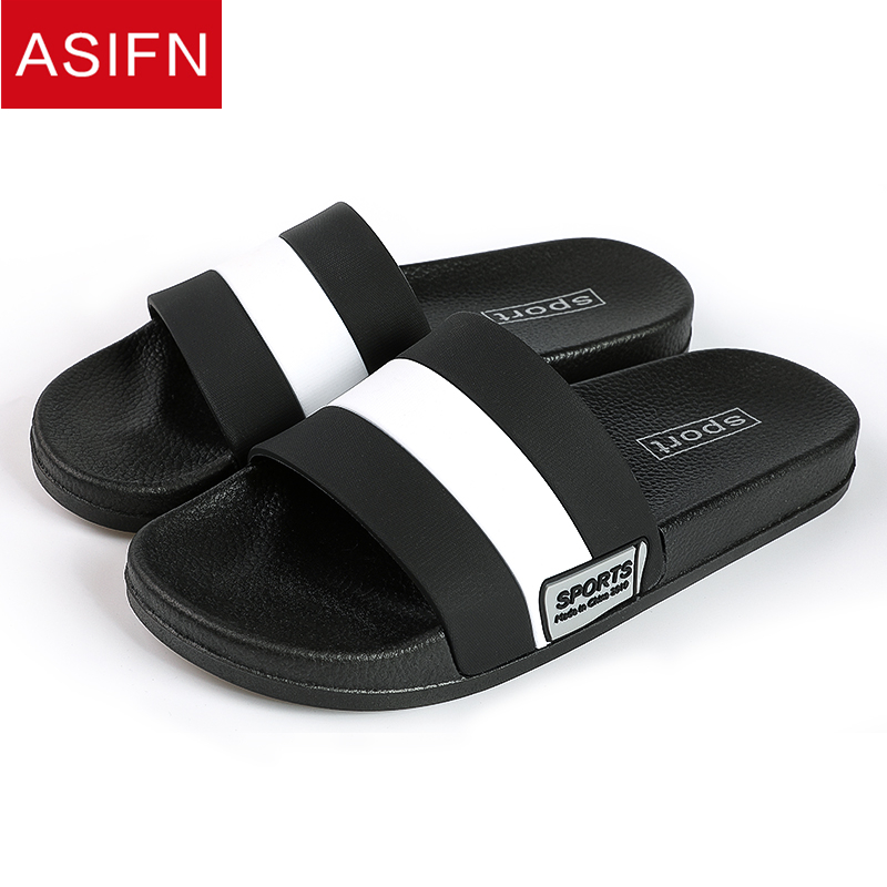 ASIFN Men Slippers Home Flip Flops Gingham Style Bathroom Slides Male Outside Fashion Women Couple Soft Sole Sepatu Pria Man|Slippers|   - AliExpress
