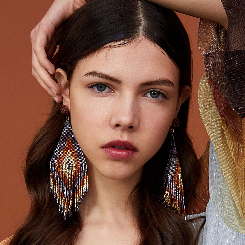Handmade Beads Long Earrings