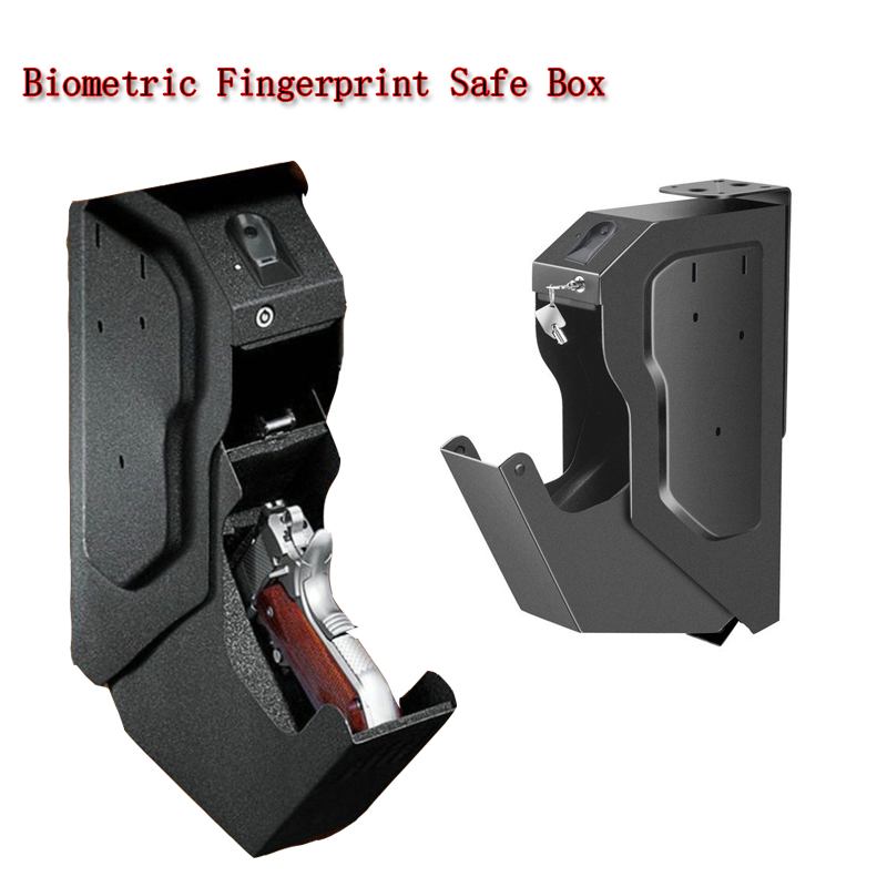 New Biometric Fingerprint Safe Box Cold-rolled Steel Security Gun Strongbox Portable Key Valuables Jewelry Storage Box 2019