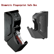 New Biometric Fingerprint Safe Box Cold-rolled Steel Security Gun Strongbox Portable Key Valuables Jewelry Storage Box 2018