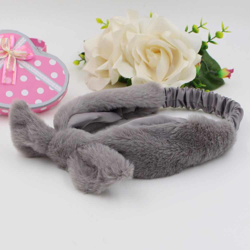 29ebe86f479 ... Elastic Wide Thick Fabric Winter Models the artificial rabbit fur Head  Wrap Tie Hairband Headwear for ...