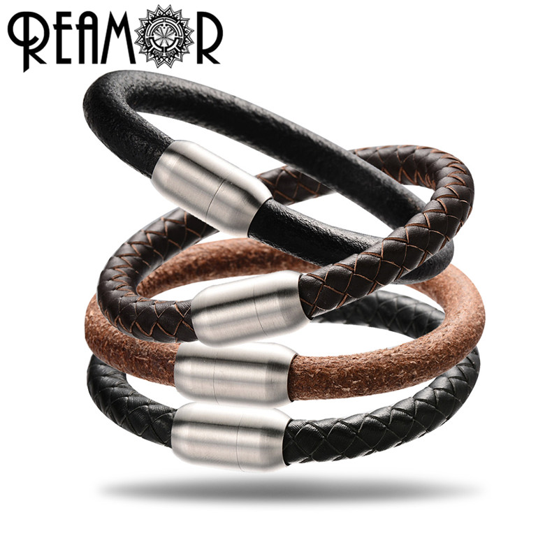 REAMOR 5 Types 8mm Genuine Leather Bracelets Large Hole Beads Women Men Bracelet DIY Jewelry Making With Magnet Clasp