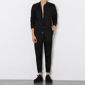 цена Helisopus British Style Men's Overalls Ankle Length pants Long Sleeved Jumpsuit Male Elegant Cool Overalls Hiphop Male Workwear онлайн в 2017 году