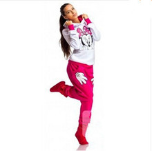 2017 Autumn Spring Minnie Mouse Printed  Suit Tracksuits Women Cartoon Sweatshirt set Girls Hoodies and Pants Dropship