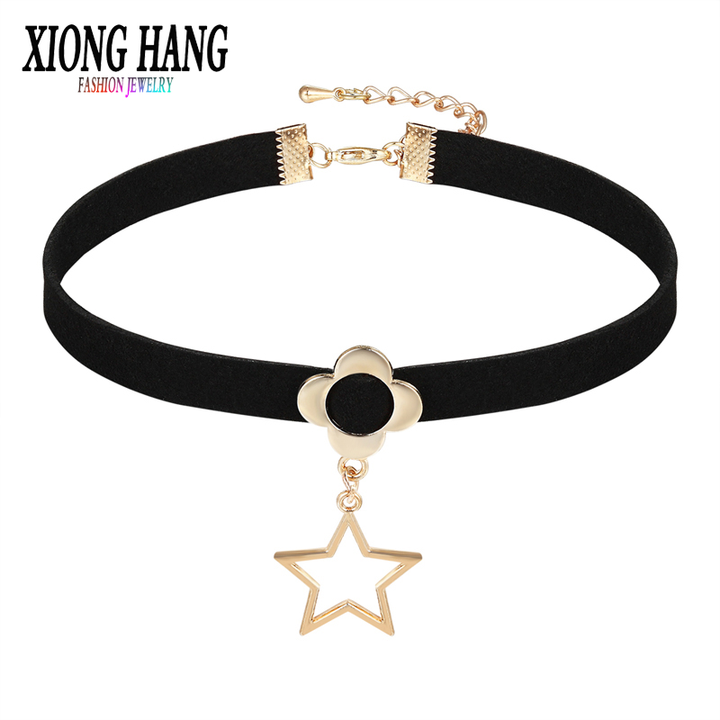 2017 Black Lace choker Luxury Gold And Silver Color Jewelry Clover Pendant Lace Collar Star Jewelry Neck accessories NecKiace