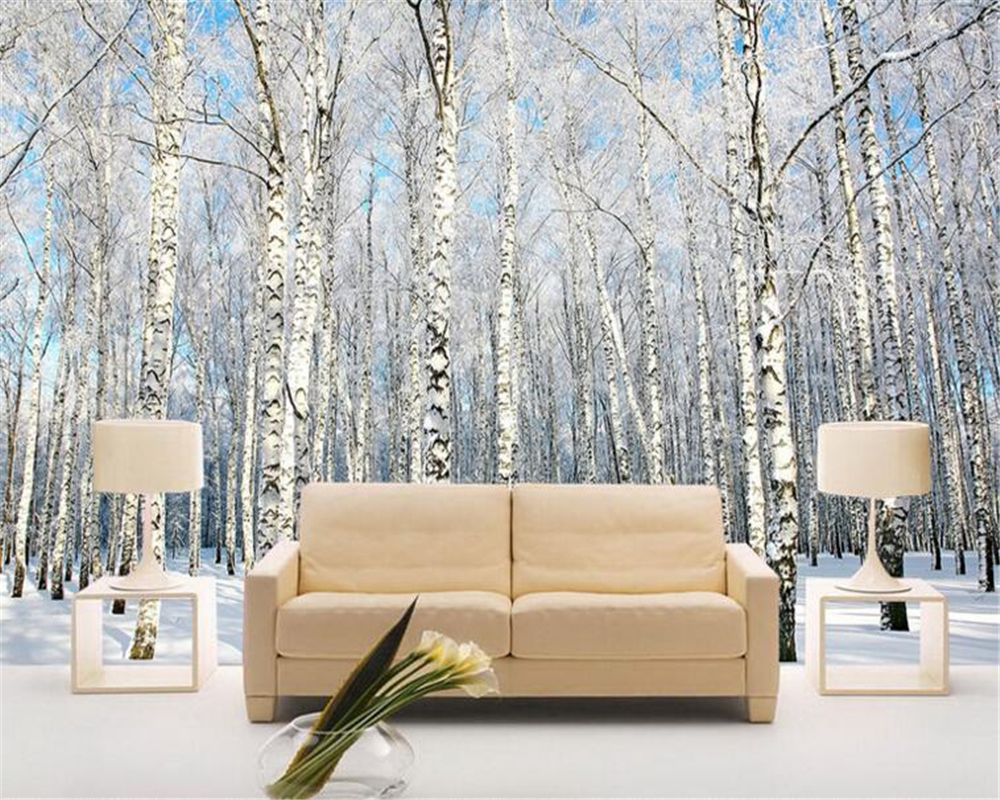 beibehang foto 3d tapete winter holz schnee landschaft birke natur landschaft wandbild. Black Bedroom Furniture Sets. Home Design Ideas