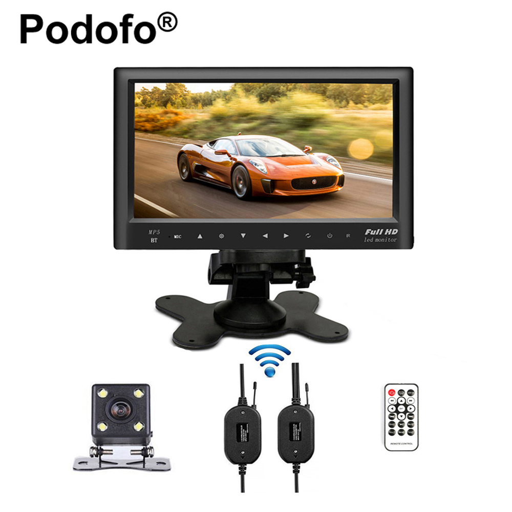 Bluetooth Wireless 7 Slim Car Rear View Monitor Car FM Transmitter USB MP5 Audio Video Player & Waterproof Mini Backup Camera aiyima mini fm microphone fm transmitter module mic wireless audio transmitter 100mhz mini bug wiretap dictagraph interceptor