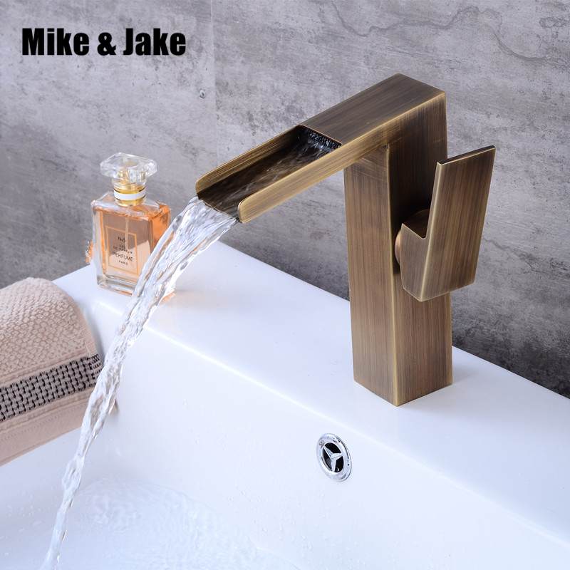 Bathroom brass antique retro faucet waterfall basin faucet black tall square faucets deck mounted waterfall water black tap