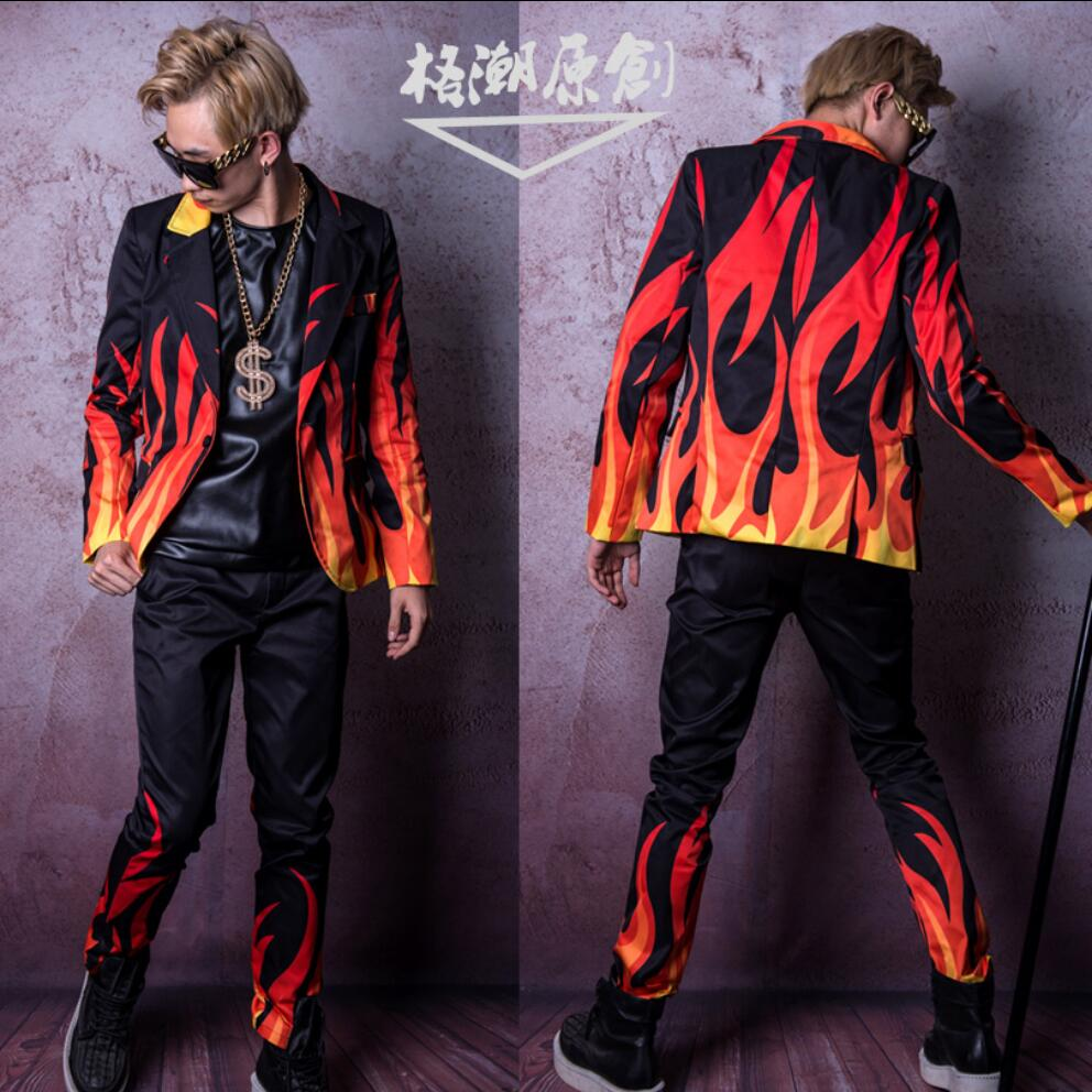 M-4XL Men Singer Stage Flame Special Effects Suit Men Long Sleeve Suit Hairdresser Bar Nightclub Performance Clothes Costumes