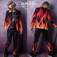 M 4XL Men singer stage flame special effects suit men long sleeve suit hairdresser bar Nightclub performance clothes costumes