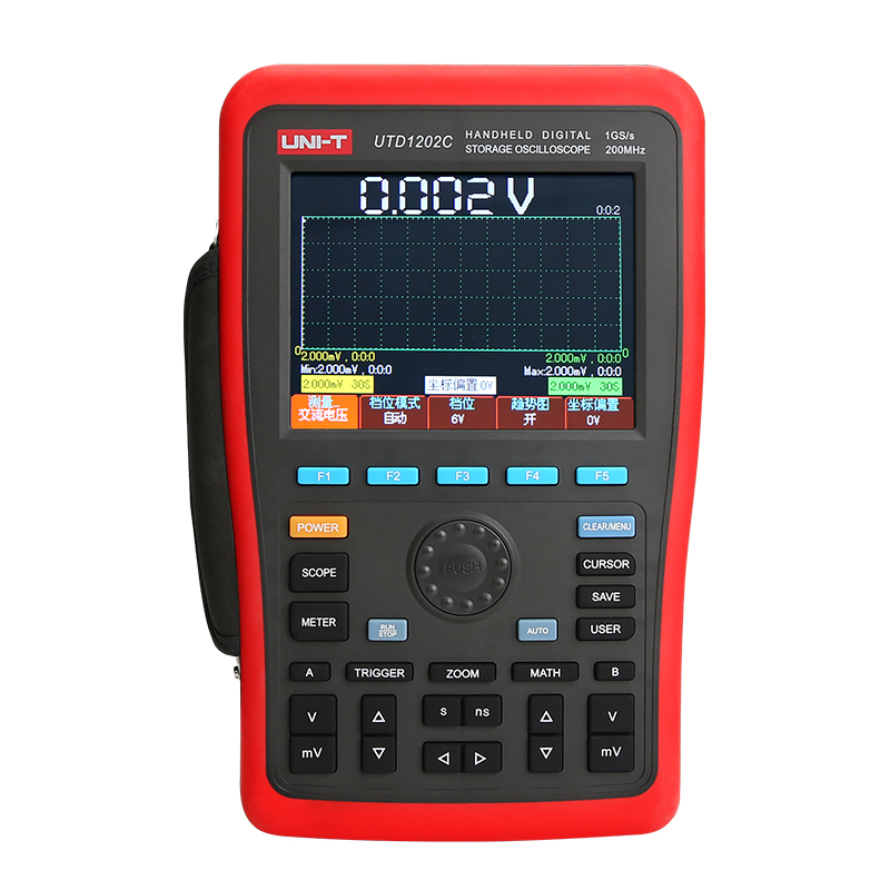 UNI-T UTD1202C Handheld Digital Storage Oscilloscope 2CH 1GS/s 200MHZ Osciloscopio Multimeter auto 6000 count AC DC Tester 5.7in u022 uni t utd2052cex digital storage oscilloscope 2 channels 50mhz 1gs s