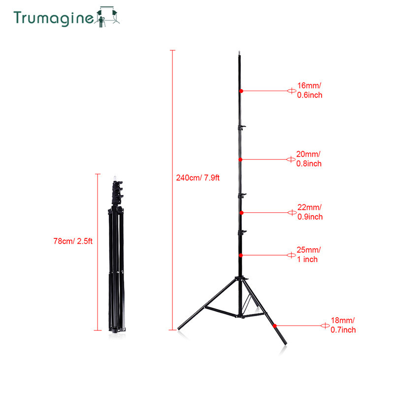 TRUMAGINE Photo Studio 240CM 7 8Ft Light Lamp Stand Tripod Photography Softbox Umbrellas Reflector lighting High Quality in Photo Studio Accessories from Consumer Electronics