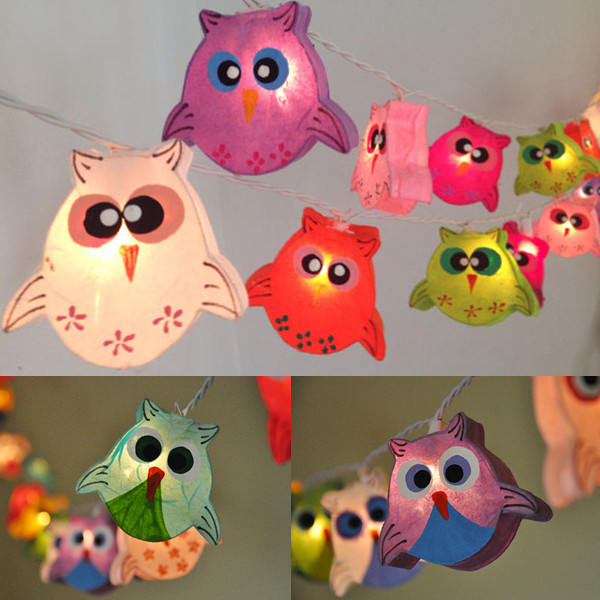 2017 220V Owl Models Paper String Lights Led Night lighting Children Room Decor Holiday lamp 3 Meters Luminaria