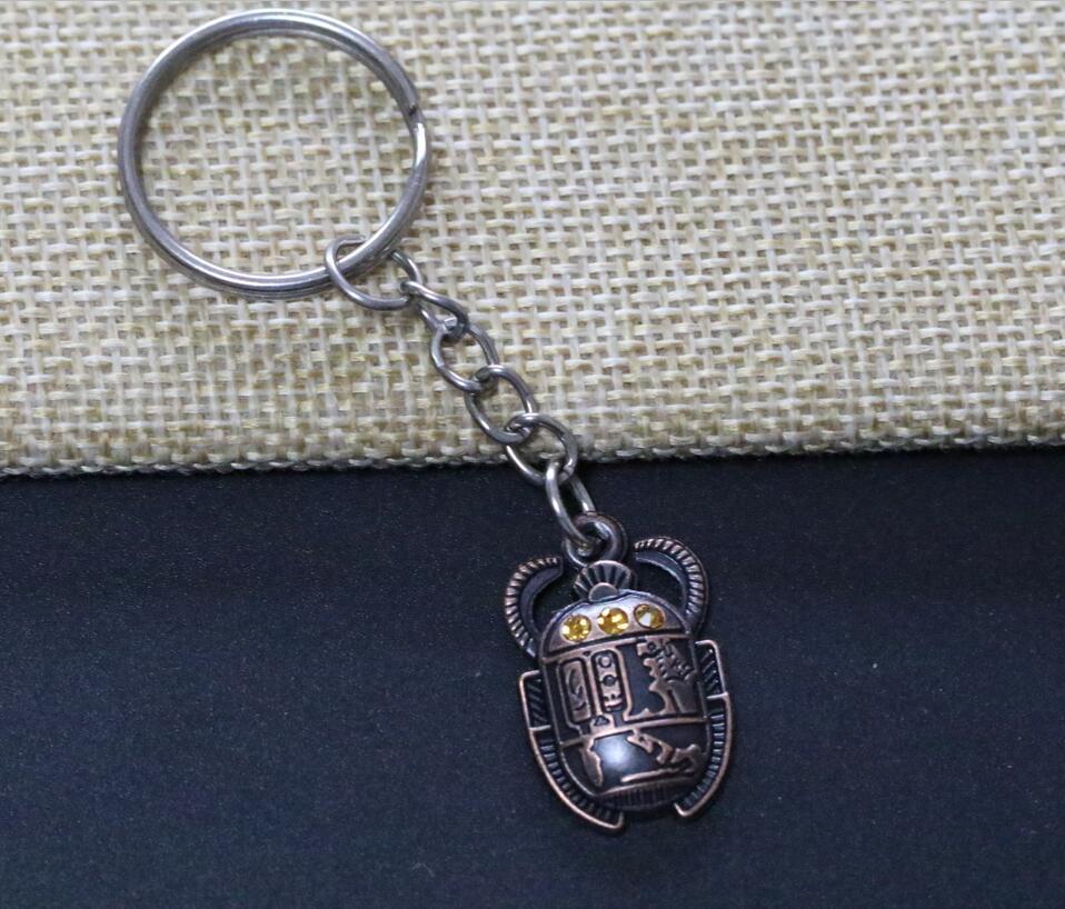 20pcs Egyptian Scarab Beetle With Rhinestones Charms Alloy Pendants Key Chain Keychain Decorative Bag Keyring Gift